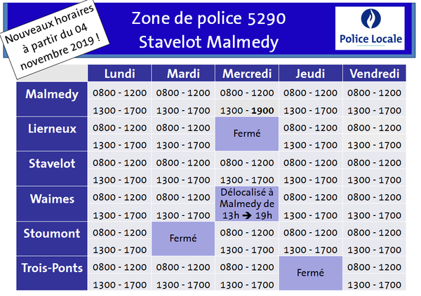horaire police